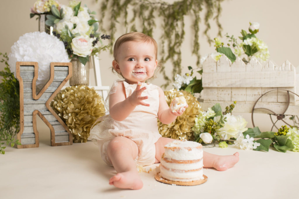 Dallas cake smash baby photographer designs custom luxury cake smashes for baby's first birthday