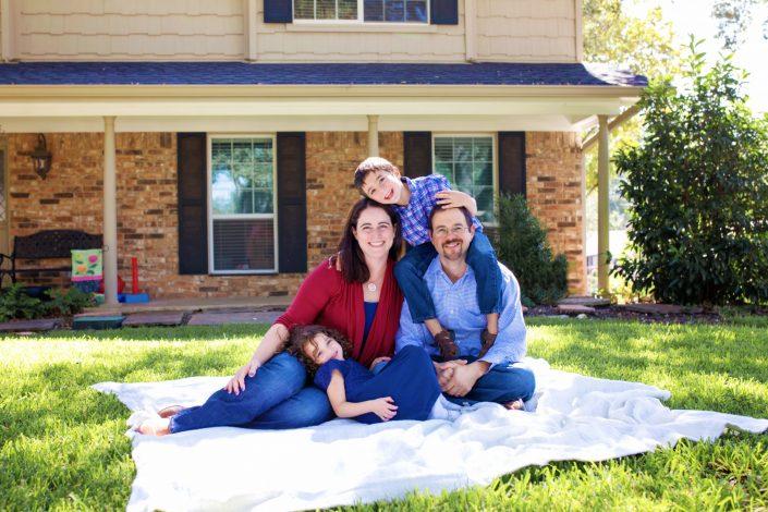 Family photo outside home in Richardson Dallas Texas