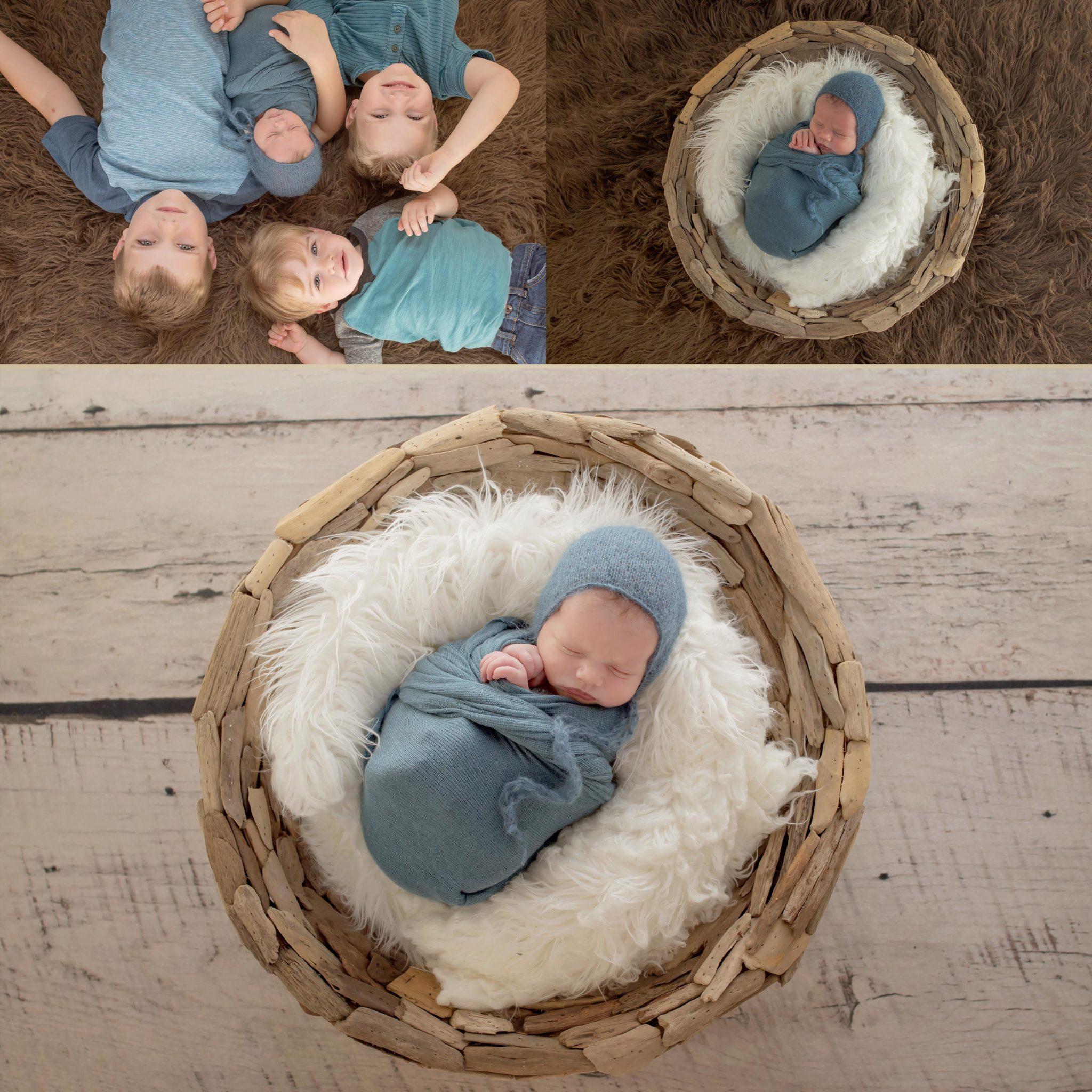 Baby Boy Newborn Portrait Session with three older brothers in Dallas Texas newborn photo shoot