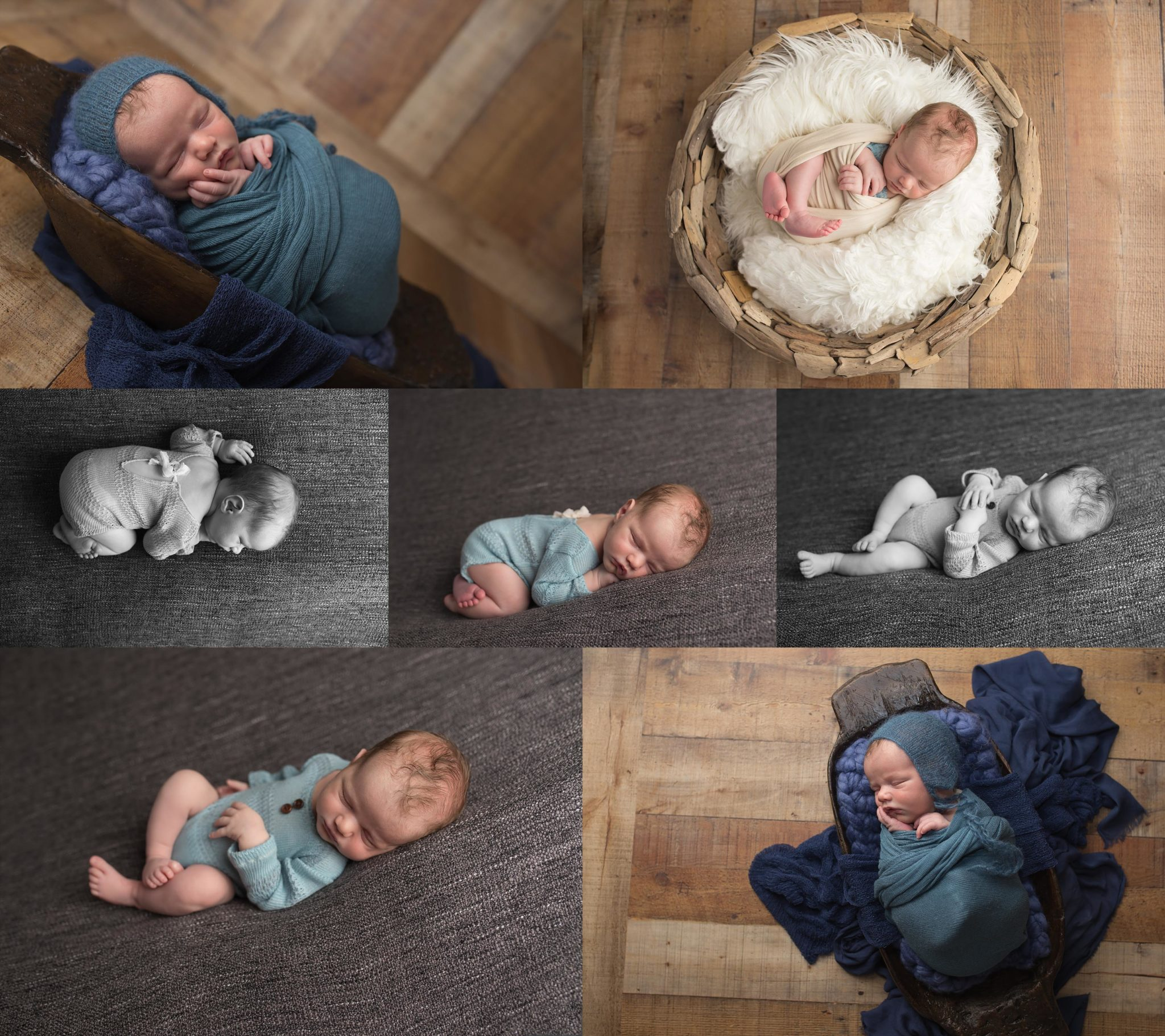 Newborn baby boy photographed with rich tones, classic blue, black and white, in Dallas, TX
