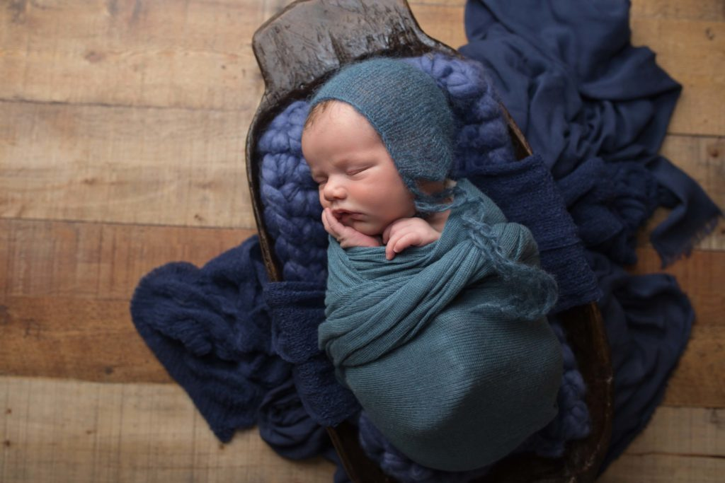 Baby Boy Newborn Portrait Jewel tone blues Dallas