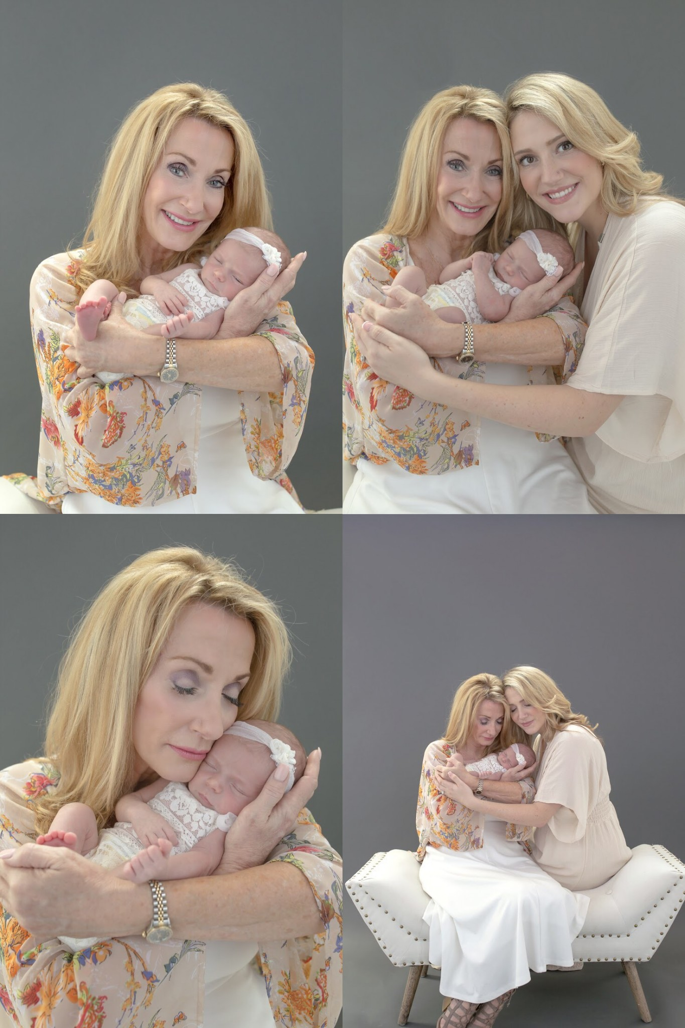newborn family portrait session with three generations in Dallas
