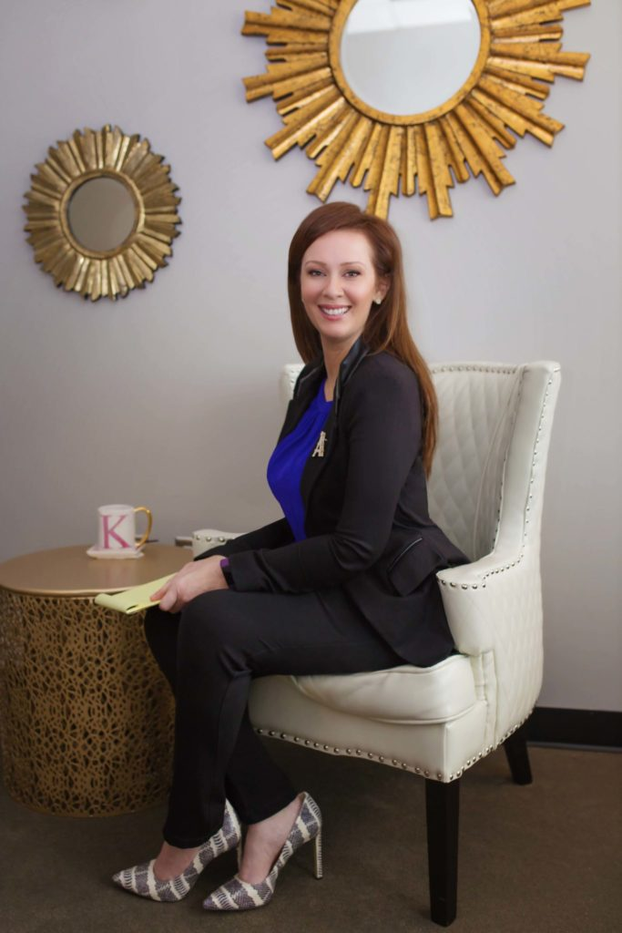 Dallas postpartum counselor Kim Kertsburg sitting in her office during an interview