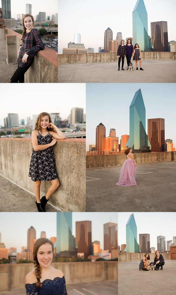 The majestic skyline of Dallas Texas pictured here as the backdrop to this beautiful mother daughter session by Mod L Photography