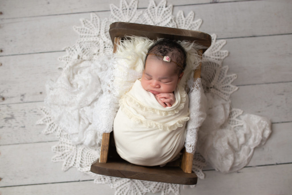 newborn girl picture rustic and white