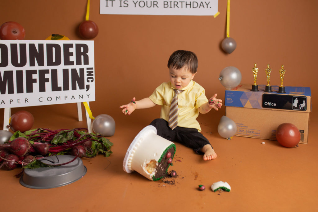 Dallas based Cake smash photographer creates The Office themed cake smash complete with Baby Dwight Schrute