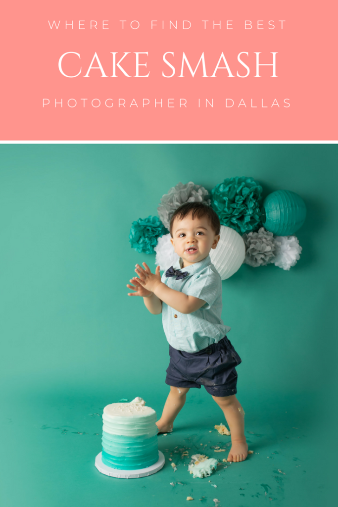 Best cake smash photographer in dallas designs teal ombre cake smash first birthday photography session.