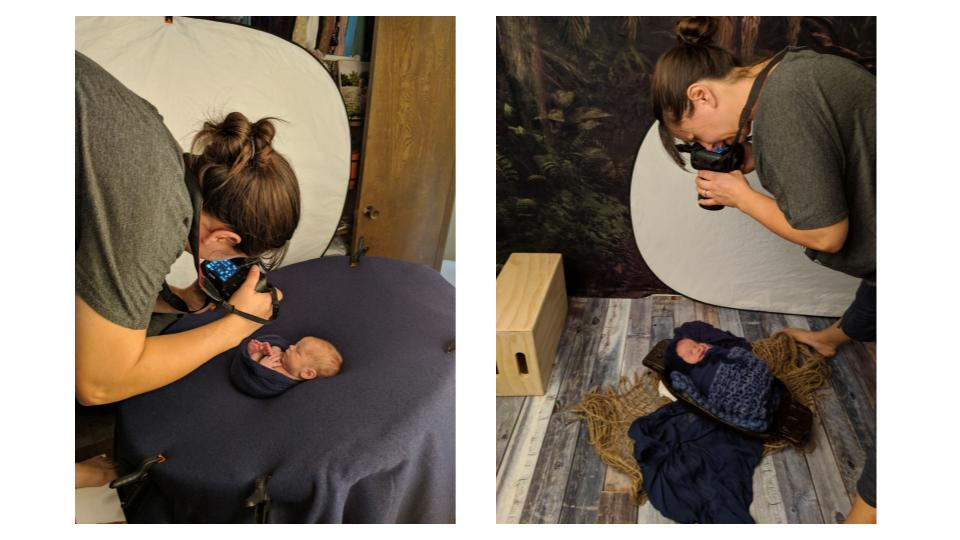 Dallas newborn photographer demonstrates perspective angles in photography during studio session with cell phone photos