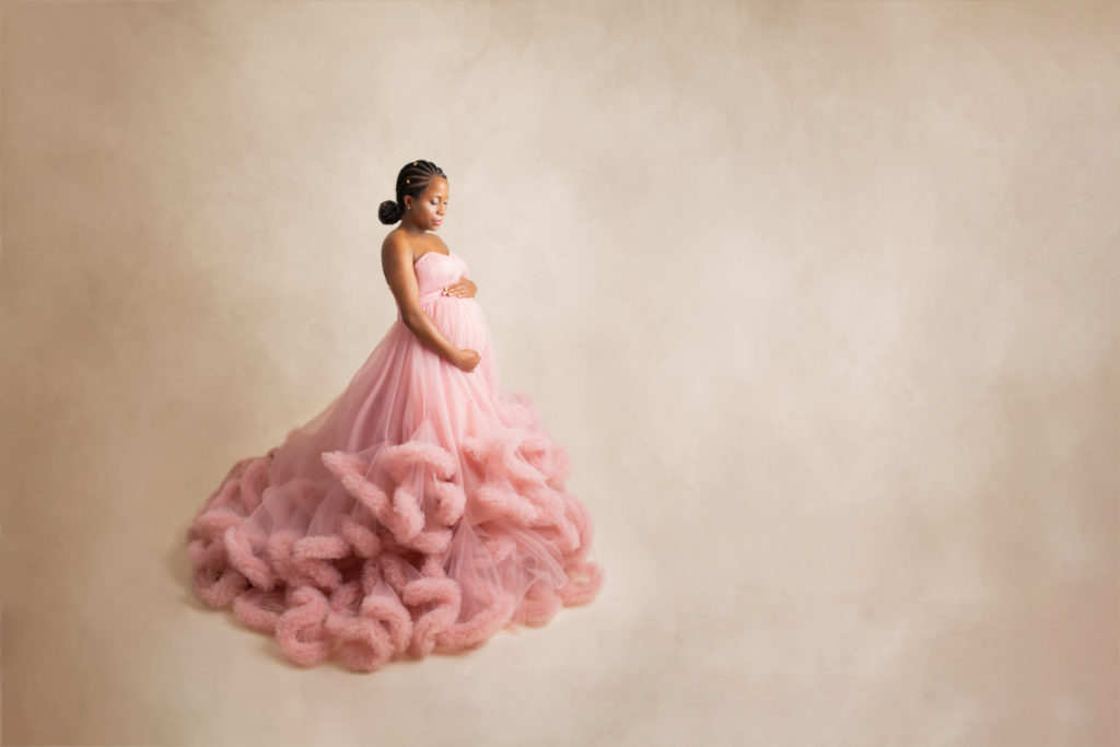 Dallas maternity portrait session with couture pink dress fashion inspired