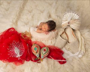 Dallas newborn photographer incorporates cultural textiles in this baby photography session