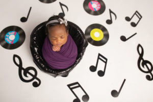 dallas newborn photographer designs custom Motown inspired baby photography session