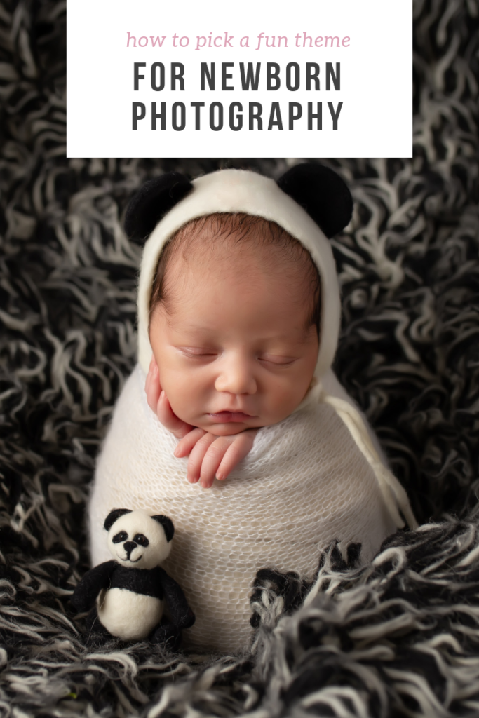 Dallas newborn photographer poses baby in panda hat with panda lovey beside him
