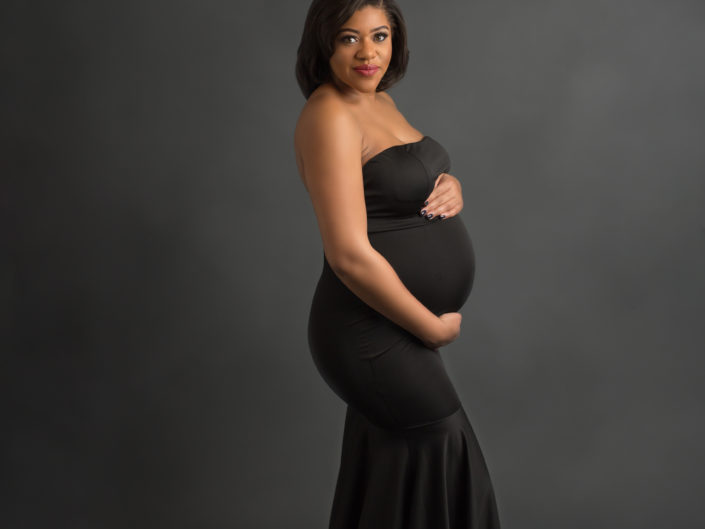 Black sleeveless full-length gown