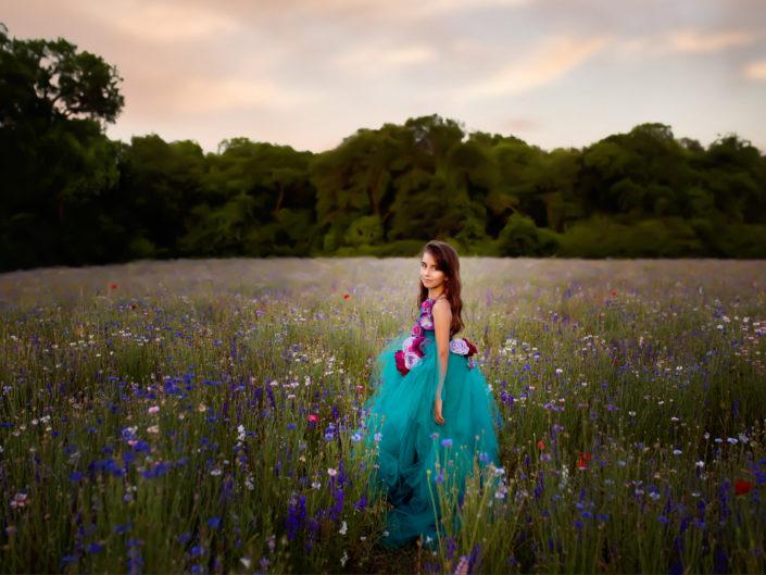 Teal long floral tutu – Adriana Ostrowska – sizing 6-10